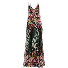 Elie Saab Flower Palm Printed Crepe Georgette Sleeveless Gown ($6,075) ❤ liked on Polyvore featuring dresses, gowns, elie saab, gown, evening gowns, v neck evening dress, v neck a line dress, elie saab dresses, sleeveless v neck dress and flower dress