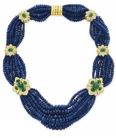 A SAPPHIRE BEAD, DIAMOND AND EMERALD NECKLACE. Christie's.