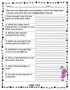 adding subordinate clauses worksheet reading and writing dependent and independent - Independent And Dependent Clauses Worksheet