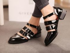 Summer sty nda british style cutout strap thick wood heel japanned leather shoes $32.20