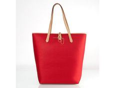 BLANCA JERSEY RED HANDBAG Tote bag made of jersey textile with neat leather details and strap. Proposing an elegant & solid identity