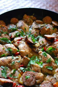 Chicken Scarpariello! chicken thighs, sausage, and sweet cherry peppers in a rosemary garlic wine sauce #italian #dinner #recipes