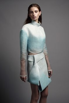 Felted Fashion - soft blue ombre felt dress with an artful use of fold & wrap - contemporary textiles for fashion design // Dion Lee