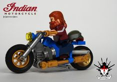 The Indian Chopper is an American Classic and will be cruising along the streets of new york city in my most recent (yet to post) build.   This vietnam veteran is enjoying the sun and de wind in his (beard)hairs.  Greetings Barthezz Brick