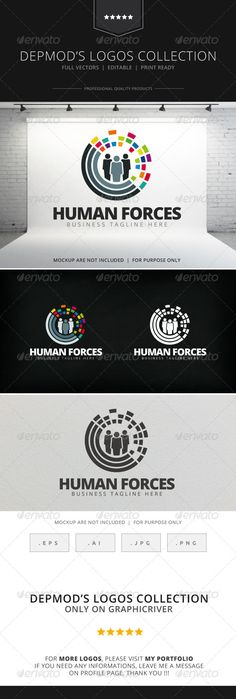 02436f0857ee Human Forces Logo Design Template Vector  logotype Download it here  http