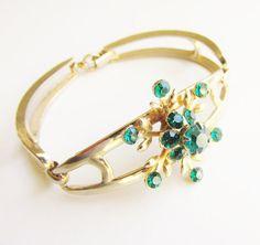 Vintage Emerald Green Rhinestone Snowflake Bracelet signed Coro