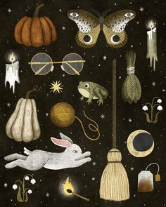October nights print #bookspapersandthings Original Annya Karina Marttinen print. Archival print of original painting on enhanced matte paper Image measures approximately 7 x 8.7 on an 8 x 10 white paper Signed and dated by the artist Shipped in cello sleeve and with cardboard to prevent damage