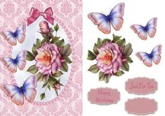 Damask Roses and Butterflies with Decoupage on Craftsuprint designed by Wendy Jones - Damask roses and butterflies with decoupage with sentiments Happy Birthday, Just For You and one blank - Now available for download!