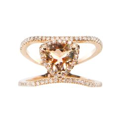 14kt rose gold and diamond Double Band Champagne Garnet Trillion ring – Luna Skye by Samantha Conn