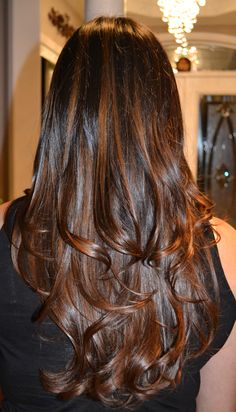 Highlights - Natural Brown / Caramel on dark brown / black hair Black Hair With Brown Highlights, Caramel Highlights On Dark Hair, Caramel Hair, Hair Color For Black Hair, Hair Highlights, Indian Hairstyles, Balayage Hair, New Hair Color Trends, New Hair Colors