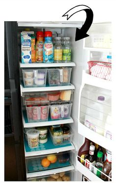 organized fridge -- love that red wire basket for eggs. :)