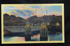 Vintage Linen - Sunset at Hoover (Boulder) Dam Las Vegas Nevada - Postcard