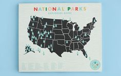 National Parks Checklist Map Print - 20x24 mounted canvas