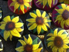 Acrylic painted knobs with sunflowers