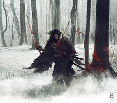 Warrior in the winter snowy forest with red spots of blood on the sword.
