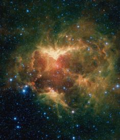 """A drawing overlaid on the image reveals why researchers nicknamed this region the """"Jack-o'-lantern Nebula."""" Credits: NASA/JPL-Caltech videos NASA's Spitzer Space Telescope shows a cloud of gas and dust carved out by a massive star. Nasa Hubble Images, Hubble Pictures, Telescope Pictures, Nasa Space Pictures, Hubble Photos, Space Images, Space Photos, Space Wallpaper, Images Wallpaper"""
