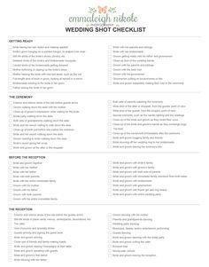 Emmaleigh Nikole Photography Wedding Shot Checklist