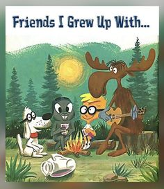 Bullwinkle and friends! I never knew as a kid that the show was originally directed at adults. No wonder I didn't get a lot of the references! My Childhood Memories, Childhood Toys, Great Memories, Image Citation, Morning Cartoon, Old Tv Shows, Vintage Tv, Classic Cartoons, Baby Cartoon