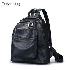 62577f3fd4 Go Meetting Women Backpack Genuine Leather Shoulder Bag Backbag Female  Zipper School Bag Girl Travel Backpacks Mochila feminina.