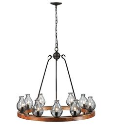 Trans Globe Clarissa 9 Light Chandelier in Black and Wood $1138 - Model #70579 #lightingnewyork #lny #lighting