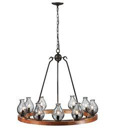 Trans Globe Clarissa 9 Light Chandelier in Black and Wood $1138 - Model #70579 #lightingnewyork #lny #lighting