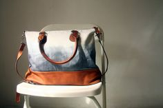 Canvas Leather Bag in Grey and White by marchandcraft on Etsy, $89.00
