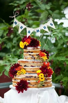 """Blueberry Mandela wedding cake made by our friend, neighbor anf master baker Kim. It was divine. I made the """"topper""""."""