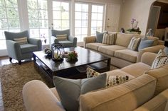 A beautifully designed living room that is great for entertaining or enjoying family time.