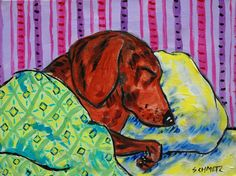 Dachshund artwork sleeping with green blanket bedroom decor signed art print. Print is a giclee meaning computer generated print Made with the Finest archival Heavyweight Matte Paper and Inks.