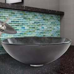 Features:  -Bathroom sink.  -Smooth polished glass interior and exterior.  -Designed for above the counter installation.  -Surface prevents from discoloration and fading.  -Faucet Sold Seperately.  -P
