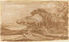 La Mort et son Cheval d'Alphonse Legros (1837-1911), dessin au pinceau et à l'encre brune sur mine de plomb et sur papier vergé, 18,7 x 31,4 cm, National Gallery of Art de Washington.