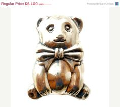 Sale Sterling Silver Teddy Bear Brooch Pendant Vintage Pin