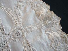 Maria Niforos - Fine Antique Lace, Linens & Textiles : Antique Linen # LI-164 Magnificent Appenzel Tablecloth w/ Figurals & Cherubs