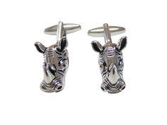 Silver Toned Rhino Head Cufflinks