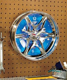Hub Wall Clock with LED Light makes a great gift for a car enthusiast. An ideal accessory for a garage or work shop, this clock resembles a wheel and has hour and minute hands that look like a wrench and screwdriver. The clock face lights up using 6 Wall Clock Light, Rims For Cars, Car Rims, Cool Clocks, Blue Led Lights, Great Father's Day Gifts, Ltd Commodities, Man Cave Garage, Lakeside Collection