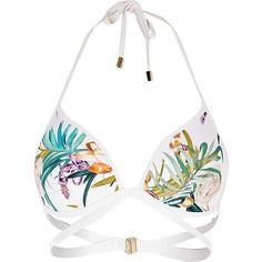 River Island White tropical strappy halter neck bikini top ($21) ❤ liked on Polyvore featuring swimwear, bikinis, bikini tops, bikini, swim, swimsuits, bathing suits, swim tops, halter bikini tops and white halter bikini