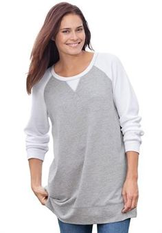 Colorblock knit sweatshirt has thermal knit trim | Plus Size New Arrivals | Woman Within
