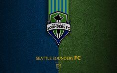 Download wallpapers Seattle Sounders FC, 4K, American soccer club, MLS, leather texture, logo, emblem, Major League Soccer, Seattle, Washington, USA, football, MLS logo
