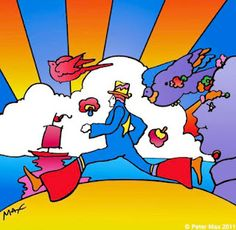Peter Max is a German-born American illustrator and graphic artist, known for the use of psychedelic shapes and color palettes as well as spectra in his work. Wikipedia Born: October 19, 1937 (age 76), Berlin, Germany