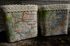 Set of 2 Map Covered Candle Holders//Travel by ReiBugStyles