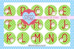 Christmas Alphabet 1 Inch Bottle Cap Images - Digital Download - pinned by pin4etsy.com