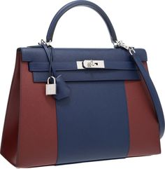 Hermes Limited Edition 35cm Blue Saphir & Rouge H Epsom Leather Sellier Flag Kelly Bag with Palladium Hardware