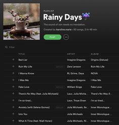 Rainy Days☔, a playlist by karoline. Calming Songs, Relaxing Songs, Music Mood, Mood Songs, Music Lyrics, Music Songs, Country Playlist, Song Playlist, Road Trip Playlist