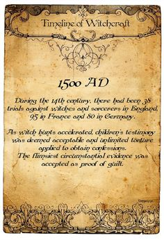 Timeline of Witchcraft, 1500 AD