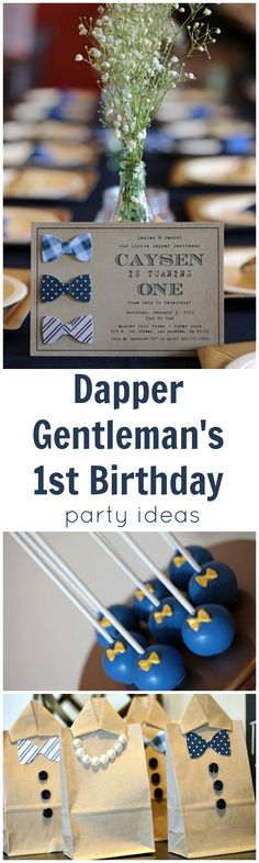 Dapper Gentleman's First Birthday Party Ideas I want to do this instead as keepsake pics for guests with a picture of the baby in a cute outfit One Year Birthday, Baby Boy First Birthday, Birthday Party Outfits, Boy Birthday Parties, Birthday Ideas, Birthday Recipes, Brunch, Dapper Gentleman, Baby Party