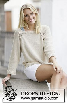 Free pattern from Ravelry - drops knitting - raglan sleeve with a ballet neck in double knitting