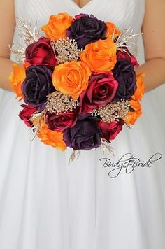 Burgundy, plum and orange fall wedding brides bouquet with rose gold glitter acc. Burgundy, plum and orange fall wedding brides bouquet with rose gold glitter accents. Fall Wedding Centerpieces, Fall Wedding Cakes, Fall Wedding Bouquets, Fall Wedding Flowers, Orange Wedding, Fall Wedding Colors, Burgundy Wedding, Bride Bouquets, Flower Bouquet Wedding