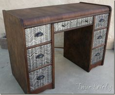 "Herringbone decorated art deco waterfall desk from ""Twice Lovely"" blog"