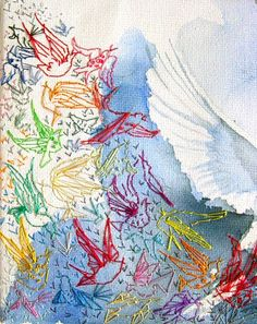 Karen Grenfell - Mimilove Forever - Dove 02 - Birds Embroidery Detail - Watercolour and embroidery on canvas