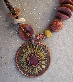 sunflower pendant detail by DesertWindDesigns, via Flickr